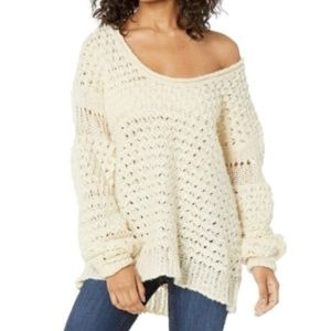 NEW Free People Crashing Waves Sweater Cream XS